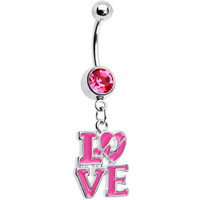 Pink Gem Dangling Love Belly Ring | Body Candy Body Jewelry