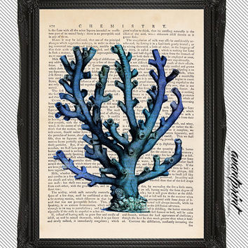 Natural History Blue Coral Etching Print on an Unframed Upcycled Bookpage