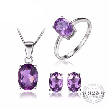 .925 Solid Silver Amethyst Oval Ring Pendant Necklace & Earrings Set