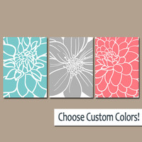 BEDROOM Wall Art, CANVAS or Prints Aqua Gray Coral Bedroom Artwork, Floral BATHROOM Pictures, Large Flower Burst Petals Set of 3 Home Decor