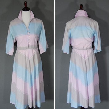70's Dress / 1970's Chevron Dress / House Dress / Pink Powder Blue Grey Stripes
