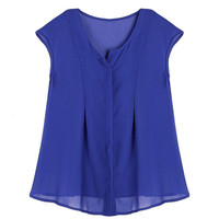 Blue Sleeveless Chiffon Blouse