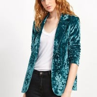Teal Crushed Velvet Blazer