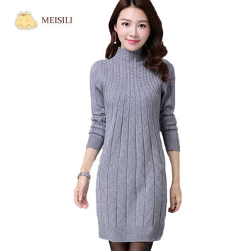 Winter Autumn Women Sweater Dresses Long Sleeve Knitted Wool Sweater Dress Female Turtleneck Mini Slim Dress Woman Clothing