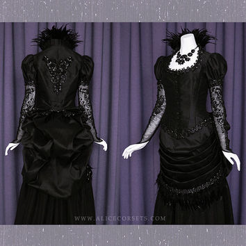 8a1198e672 Victorian Steampunk Gothic Bustle Dress ~ Witch Vampire Ball Mas