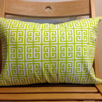 """Lime Green Cotton Living Room Throw Pillow- 12"""" X16"""""""