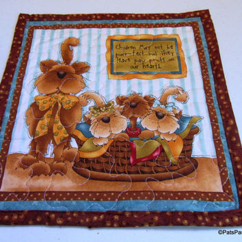 Quilted Cat Mug Rug, Mini Cat Wall Hanging, Quilted Placemat Cat, Turquoise Brown Mug Rug