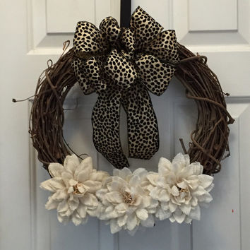 Year Round Wreath, Everyday Wreath, Burlap Flowers Wreath, Grapevine Wreath, Front Door Wreath