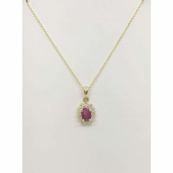 Luxinelle 0.83 Cttw. Ruby in Diamond Halo Pendant in 14K Yellow Gold