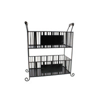 MESA Home Wrought Iron Chalk Board Table Basket