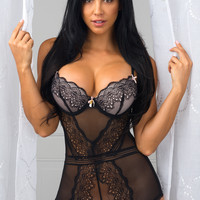 Drop Dead Lace Teddy Black