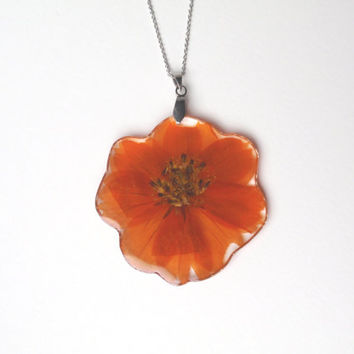 Handmade Flower Resin Pendant  - Orange Cosmos Flower Necklace, Real Pressed Flowers Jewelry, Botanical Necklace