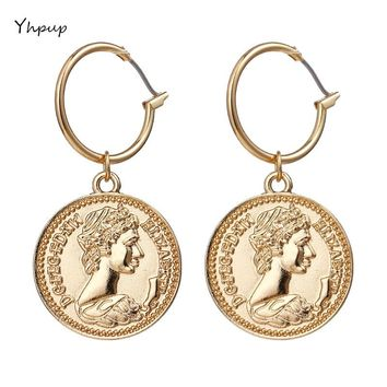 Yhpup Trendy Vintage Medusa Zinc Alloy Coin Portrait Pendant Drop Dangle Earrings Gold Ethnic For Women Women Charm Jewelry Gift