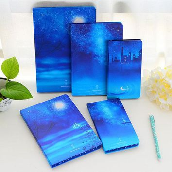 DCCKL72 1PC Korea Stationery Beautiful Moonlight Sky Notebooks And Journals Notepad Creative Travel Diary