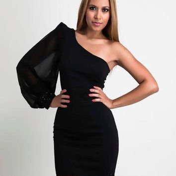 Black  One Shoulder Chiffon Cocktail / Party Dress, Formal