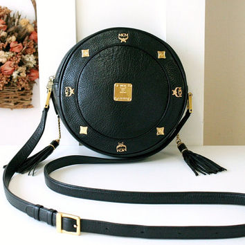 MCM Bag Tambourine Round Black Leather Handbag Vintage Authentic