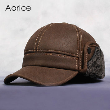 HL083  New Men's Scrub Genuine Leather baseball cap Russian Winter Warm baseball Hat / Cap  with Faux fur inside