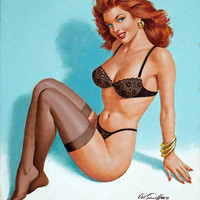 Pin-Up Girl Wall Decal Poster Sticker - Pin-Up in Black Lingerie, 1993 - Red Hair Redhead Pinup Pin Up