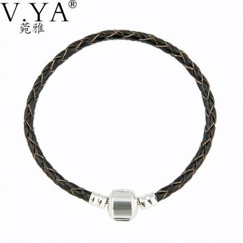 V.YA Newest Arrival Silver Charm Brown Leather Bracelet for Women 15-23CM Magnet Clasp Bracelets Women Birtahday Gifts Drop Ship