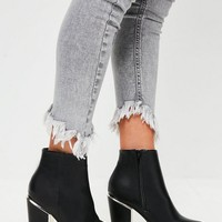 Missguided - Black Gold Trim Block Heeled Boots