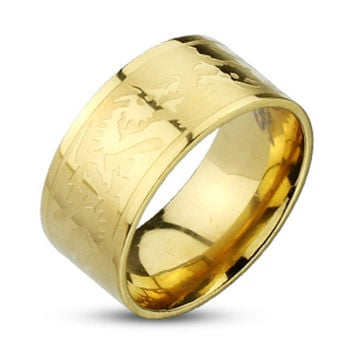 10mm Dragons Etched Gold IP Band Ring 316L Stainless Steel Men's Ring