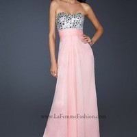 La Femme 17909 Cotton Candy Pink Rhinestone Embellish Strapless Gown Sz 00 to 10