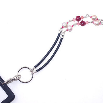 ID Badge Holder – Pink Freshwater Pearl Crystal Fashion Work Lanyard  - Eyeglass Holder – Corporate Gift