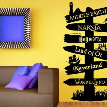 Wall Decal Vinyl Sticker Storybook Signpost Fandom Harry Potter Lord Of The Ring Narnia Peter Pan Typography Door Murals B606