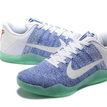 nike kobe xi elite blue white green basketball trainers size us7 12  number 1
