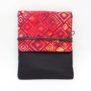 Red Waxed Floral Cotton Canvas Kindle Cover or iPad Case, Made to Order