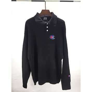 Champion Autumn And Winter Fashion New Embroidery Logo Women Men Long Sleeve Top Sweater  Black