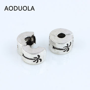 Charms 10 Pcs a Lot Silver Copper Coco Palm Tree Clip Lock European Fits Pandora Bracelet Beads