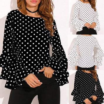 Fashion Women's Bell Sleeve Loose Polka Dot Shirt Ladies Casual Blouse Tops