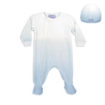 Coccoli Baby Boys' Blue Ombre Zipper Velour Footie and Cap