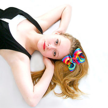 Ombre Rainbow Hair Bow, Rainbow Ombre Satin Hair Bow, 5 inch Bow, GIrls, Women, In Style of Cher Lloyd Sticks and Stones Album Cover