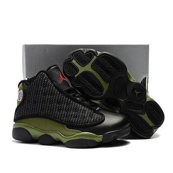 PEAPGE2 Beauty Ticks Kids Air Jordan 13 Retro Black/green Sport Shoe Us 11c - 3y