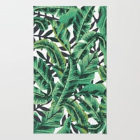 Tropical Glam Banana Leaf Print Rug by Nikki