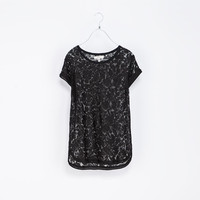 LACE T - SHIRT WITH DETAILING - T - shirts - TRF | ZARA Canada