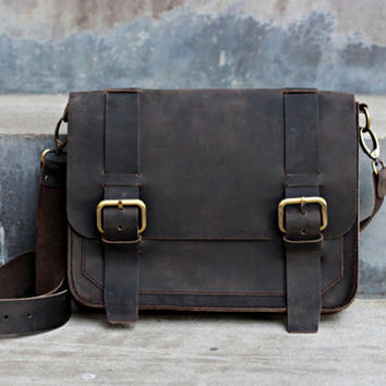 Black Distressed Leather iPad Bag - JooJoobs Original Design - 019