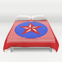 Patriotic Star Duvet Cover by Bright Vibes Design