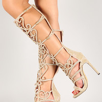 Glitter Rhinestone Strappy Knee High Open Toe Heel