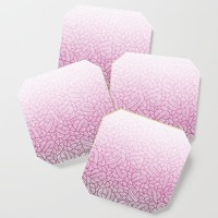Gradient pink and white swirls doodles Coaster by savousepate