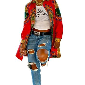 Fashion Womens Slim Long Coat Jacket African Print Dashiki Windbreaker Parka Outwear Cardigan