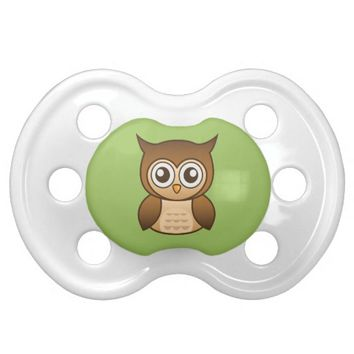 Cute Brown Cartoon Owl Baby Pacifiers