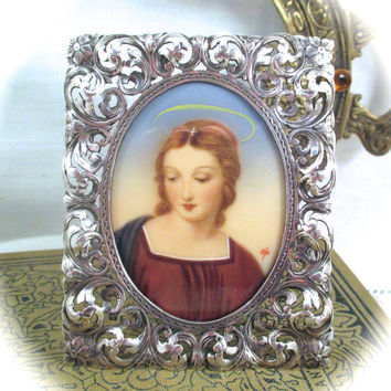 Antique MINIATURE MADONNA PORTRAIT 800 Sterling Silver Frame with Hand Painted Miniature Portrait of Madonna Virgin Mary