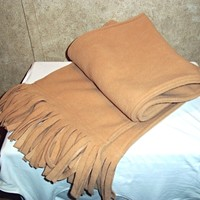 Classic Wide Unisex Plain Solid Alexis Camel Color Winter Fringed Scarf NWOT