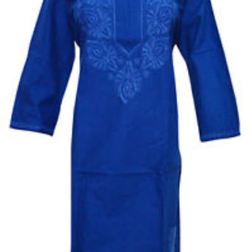 WOMEN'S TUNIC KURTI BLUE HAND EMBROIDERED COTTON KURTA CHIKAN WORK XL