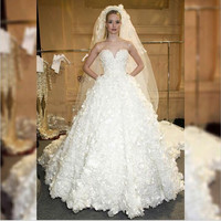 Lace Wedding Dress Formal  Flowers Sweetheart Ball gown