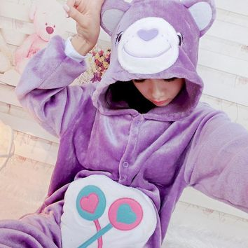 Animal Pink Care Bear / Purple Candy Bear / Green Lucky Bear Cosplay Onesuit All In One Women men Cute Winter Pyajamas Garment