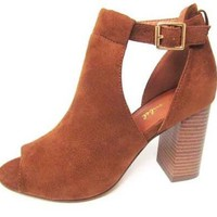 Suede Peep Toe Buckle Booties in Camel
